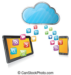 Cloud Computing Concept - Cloud with Tablet PC, Smartphone...