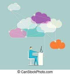 Cloud computing concept design. A businessman is working. The background is blue.