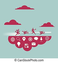 Cloud computing concept design. A group of businessmen are running.