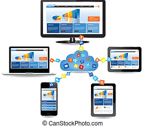 Cloud computing concept design. Devices connected to the...