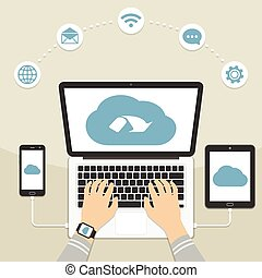 Cloud computing concept design. Man using laptop with devices connected to the cloud. Flat vector illustration.