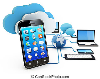 Cloud computing concept - Smartphone and Home Electronic...