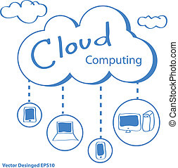 Cloud computing concept - Vector