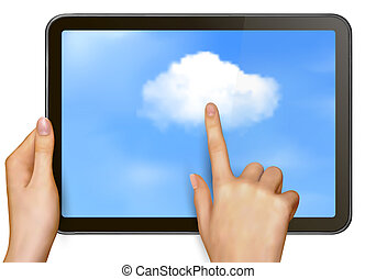 Cloud computing concept Finger touching cloud on a touch ...