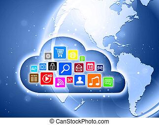 Cloud computing concept for business presentations - Cloud...