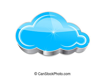 Cloud computing concept: glossy blue cloud icon isolated on white background