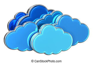 Cloud computing concept: group of blue glossy clouds ...