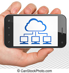 Cloud computing concept: Hand Holding Smartphone with Cloud Network on display