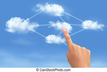 Cloud computing concept. Hand touching connected clouds....