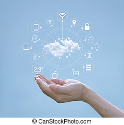 Cloud computing concept. Hands holding of cloud computing and icon network connection on blue sky. Technology of storage futuristic.