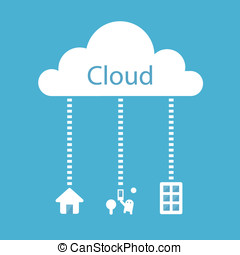 Cloud Computing Concept. Home, Office, Mobile, Tablets