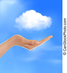 Cloud computing concept Hand with blue sky and white cloud...
