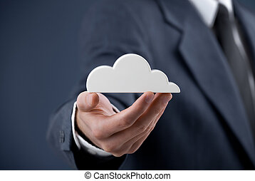 Cloud computing concept. Man hold cloud.