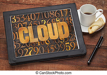 cloud computing concept on tablet