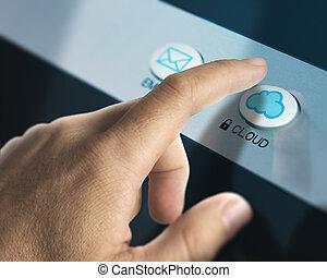 Cloud Computing Concept - One finger pressing a cloud button...