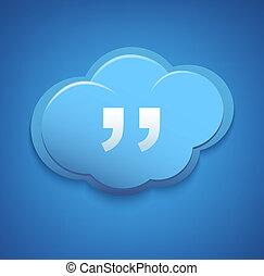Cloud computing concept sign. Blue sky.