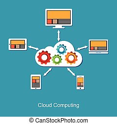 Cloud computing concept. Technology background.