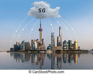 Cloud computing concept using Shanghai skyline