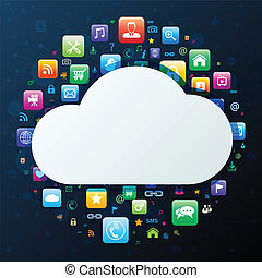 Cloud computing concept, vector illustration.
