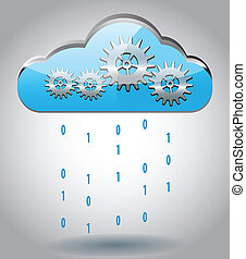 Cloud computing concept vector illustration with gears and...