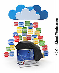 Cloud computing concept. Virus, spam protection