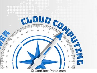 Cloud computing concept with compass pointing towards text