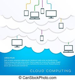 Cloud computing concept with connected devices