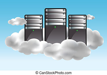 Cloud computing concept with servers in the clouds. Vector...