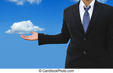 Cloud computing concept, young businessman with cloud