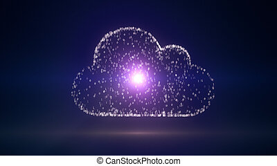 Cloud computing conception, 3D illustration with binary code IT symbol