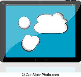 cloud-computing, conexão, ligado, a, tablete digital, pc