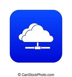 Cloud computing connection icon digital blue