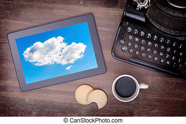 Cloud-computing connection on a digital tablet pc