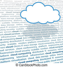 Cloud computing copy space IT text page - Cloud shape copy...