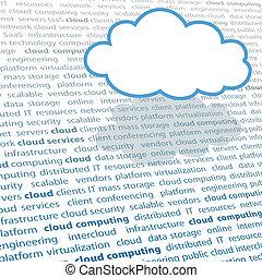 Cloud computing copy space IT text page - Cloud shape copy...