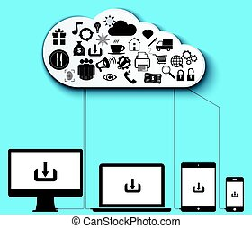 cloud computing data storage vector illustration design