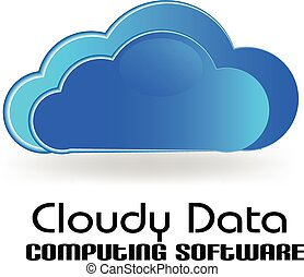 Cloud computing data vector logo