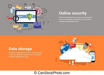 Cloud Computing Database Storage Services, Online Security Data Protection Web Technology Banner