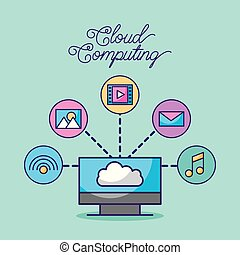 cloud computing digital network connection technology