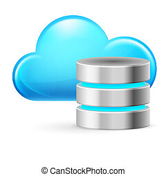 Cloud computing and Database. Illustration on white...