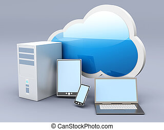 Cloud computing - Cloud computing. 3D rendered illustration....