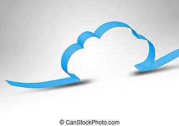 cloud computing - A blue ribbon making a cloud computing...