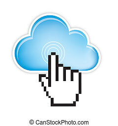 cloud computing with cursor hand isolated. vector...