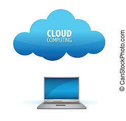 cloud computing - laptop with a world map connected to the...