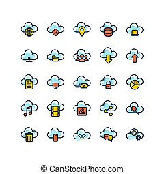 Cloud Computing filled outline icon set. Vector and ...