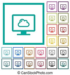 Cloud computing flat color icons with quadrant frames on...