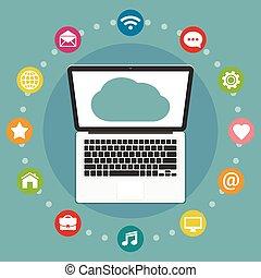 Cloud computing flat design concept