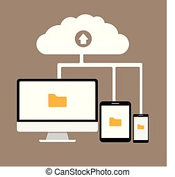 Cloud computing flat design modern vector illustration concept, Network cloud service.