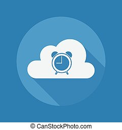 Cloud Computing Flat Icon. Clock
