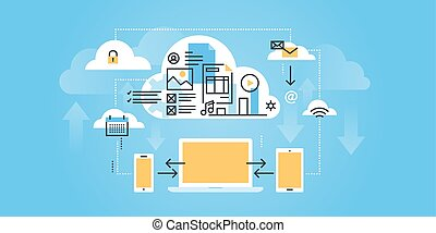 Flat line design website banner of cloud computing. Modern vector illustration for web design, marketing and print material.